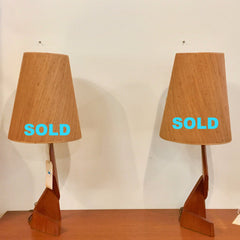 Mid-Century Teak Zig Zag Table Lamp With Original Cone Shades
