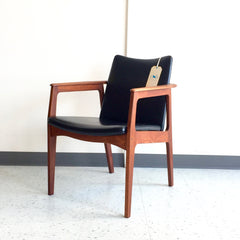Mid-Century Walnut Armchair With Original Leather.