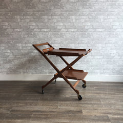 Mid-Century Walnut Folding Bar Cart With Removable Tray Table