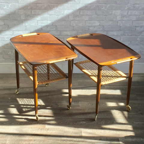 Mid-Century Walnut Rolling Bar Carts or Tables by Poul Jensen for Selig