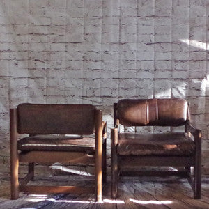 Mid Century Brown Leather and Walnut Tub Armchairs By Paoli - Vintage Home Boutique - 4