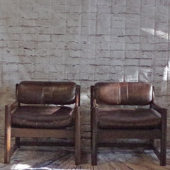 Mid Century Brown Leather and Walnut Tub Armchairs By Paoli - Vintage Home Boutique - 1