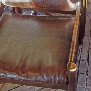 Mid Century Brown Leather and Walnut Tub Armchairs By Paoli - Vintage Home Boutique - 7
