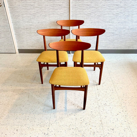 Mid Century Danish Teak Dining Chairs by EW Bach
