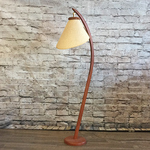 Danish Mid Century Teak Floor Lamp with Original Shade