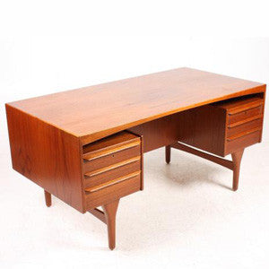 Mid-Century Danish Teak Double Pedestal Desk By Valdemar Mortensen