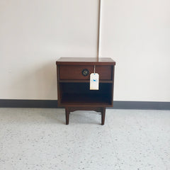Mid Century Modern Walnut Bedside Table With Drawer And Shelf