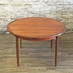 Danish Mid Century Round Extending Teak Dining Table