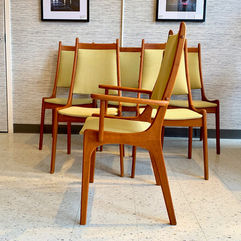 Mid Century Solid Teak High Back Dining Chairs