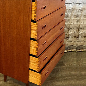 Mid-Century Solid Teak and Oak 5 Drawer Tall Dresser