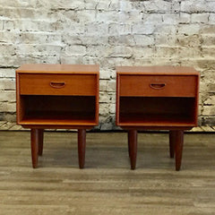 Mid Century Solid Teak and Oak Side Tables with a Drawer and Shelf