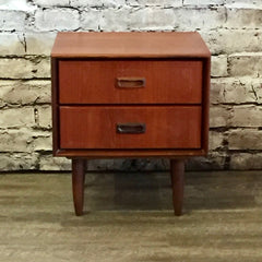 Mid Century Teak 2 Drawer Side Table by Punch Designs