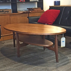 Mid Century Oval Teak Coffee Table with Shelf - Vintage Home Boutique - 1