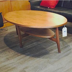 Mid Century Oval Teak Coffee Table with Shelf - Vintage Home Boutique - 6