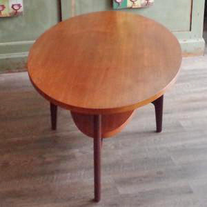 Mid Century Oval Teak Coffee Table with Shelf - Vintage Home Boutique - 3