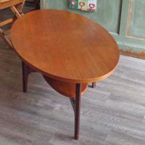 Mid Century Oval Teak Coffee Table with Shelf - Vintage Home Boutique - 4