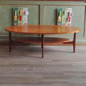 Mid Century Oval Teak Coffee Table with Shelf - Vintage Home Boutique - 5