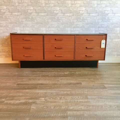 Mid Century Teak Compact 9 Drawer Dresser By RS Associates