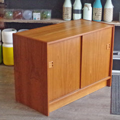 Small Mid Century Teak Media Cabinet - Vintage Home Boutique - 1