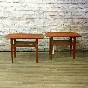Danish Mid-Century teak surfboard side tables with slatted shelves