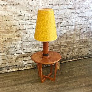 Mid Century Teak Table Lamps with Original Wool Shades