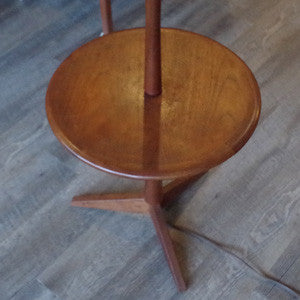 Mid Century Teak Floor Lamp with Table - Vintage Home Boutique - 3