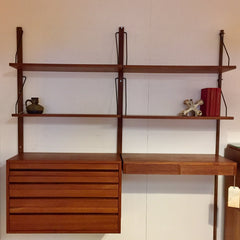 Mid Century Teak Wall Unit By Poul Cadovius 2 Sections
