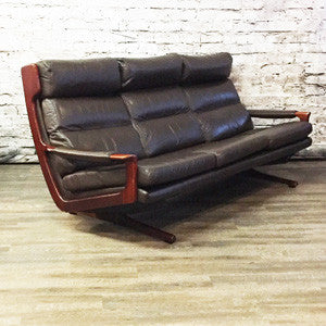 Australian Mid Century Teak and Leather Sofa by Fred Lowen - Vintage Home Boutique - 1