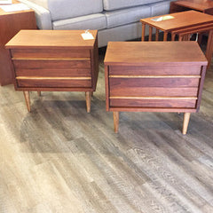 Mid Century Walnut Side Tables with 2 Drawers