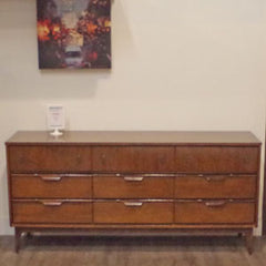 Mid Century Walnut 9 Drawer Dresser with Brass Accents - Vintage Home Boutique - 1