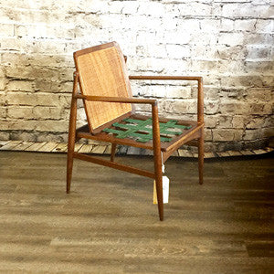 Mid Century Walnut Cane Back Armchair By Kofod Larsen For Selig