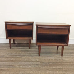 Mid-Century Modern Walnut Side Table with Drawer and Shelf