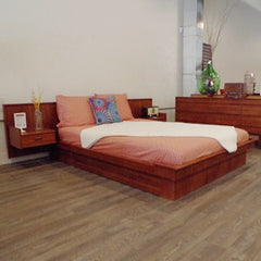 Teak Mid Century Queen Bedframe with Floating Side Tables - Vintage Home Boutique