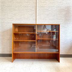 Narrow Mid-Century Modern Teak Media Cabinet Or Bookcase