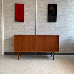 Narrow Danish Modern Sideboard In Teak