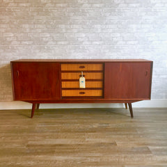 Narrow Danish Teak and Rattan Sideboard