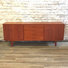 Narrow Mid-Century Modern Teak Sideboard or Media Cabinet
