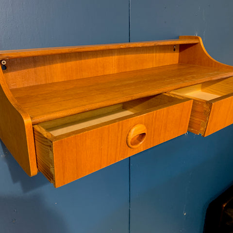 Norwegian Mid-Century Teak Wall Shelf With 2 Drawers