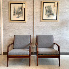Pair Of Mid-Century Solid Teak Lounge Chairs By Imperial