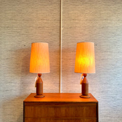 Mid-Century Modern Teak Table Lamps With Original Shades
