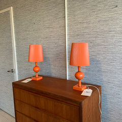Pair Of Retro Plastic Compact Table Lamps With The Original Shades