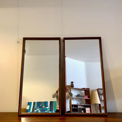 Pair Of Tall Mid-Century African Teak Mirrors With Bullnose Edge