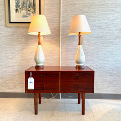 Pair Of Walnut And Opalescent Ceramic Table Lamps
