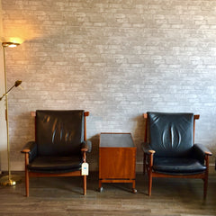 Pair of Bwana Chairs By Finn Juhl in Original Black Leather