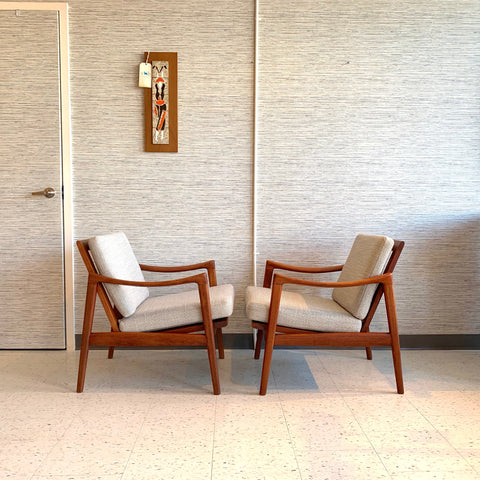 Pair Of Mid-Century Modern Solid Teak Lounge Chairs