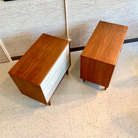 Pair Of Mid-Century Modern Teak 3 Drawer Dressers or Bedside Chests