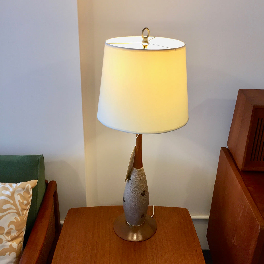 Pair Of Mid Century Modern Walnut Brass And Ceramic Table Lamps