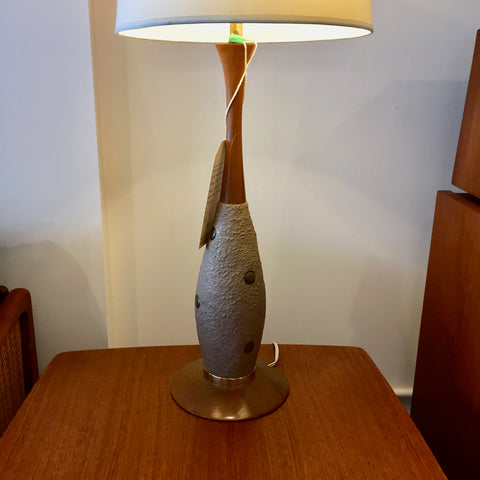 Pair Of Mid-Century Modern Walnut, Brass And Ceramic Table Lamps
