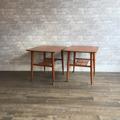 Pair Of Mid-Century Side Tables With Shelf And Brass Casters