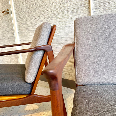 Pair Of Mid-Century Solid Teak Lounge Chairs By R Huber
